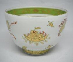 画像1: 鶸金襴手 宝絵茶碗 干支「子」絵盃付